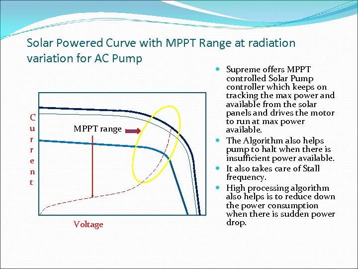 Solar Powered Curve with MPPT Range at radiation variation for AC Pump C u