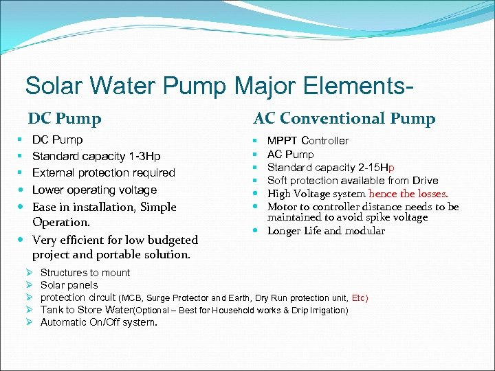Solar Water Pump Major Elements- DC Pump § § § DC Pump Standard capacity
