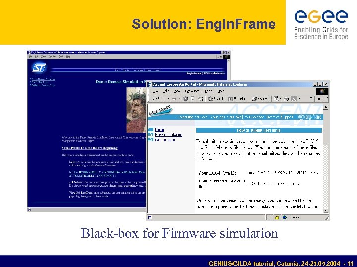 Solution: Engin. Frame Black-box for Firmware simulation GENIUS/GILDA tutorial, Catania, 24 -25. 05. 2004