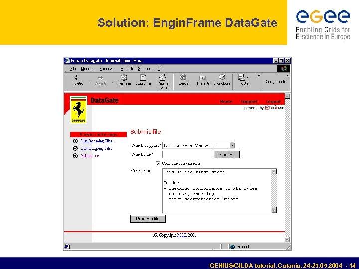 Solution: Engin. Frame Data. Gate GENIUS/GILDA tutorial, Catania, 24 -25. 05. 2004 - 14