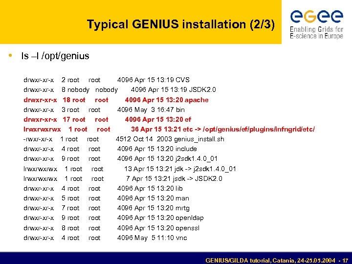 Typical GENIUS installation (2/3) • ls –l /opt/genius drwxr-xr-x 2 root 4096 Apr 15