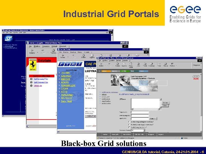 Industrial Grid Portals Black-box Grid solutions GENIUS/GILDA tutorial, Catania, 24 -25. 05. 2004 -