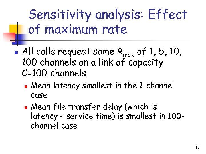 Sensitivity analysis: Effect of maximum rate n All calls request same Rmax of 1,