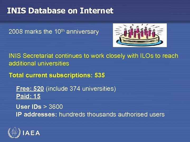 INIS Database on Internet 2008 marks the 10 th anniversary INIS Secretariat continues to