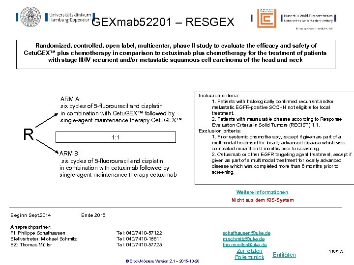 GEXmab 52201 – RESGEX Randomized, controlled, open label, multicenter, phase II study to evaluate