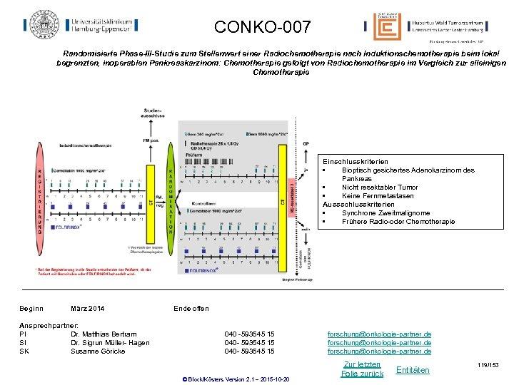 CONKO-007 Randomisierte Phase-III-Studie zum Stellenwert einer Radiochemotherapie nach Induktionschemotherapie beim lokal begrenzten, inoperablen Pankreaskarzinom: