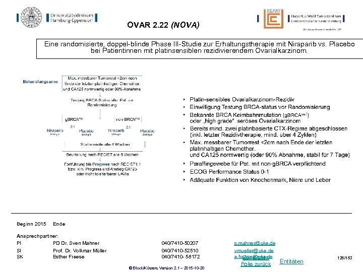 OVAR 2. 22 (NOVA) Eine randomisierte, doppel-blinde Phase III-Studie zur Erhaltungstherapie mit Niraparib vs.