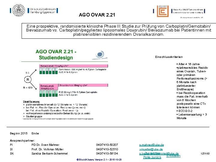 AGO OVAR 2. 21 Eine prospektive, randomisierte klinische Phase III Studie zur Prüfung von