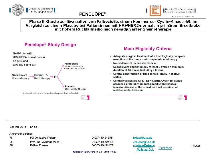 PENELOPEB Phase III-Studie zur Evaluation von Palbociclib, einem Hemmer der Cyclin-Kinase 4/6, im Vergleich