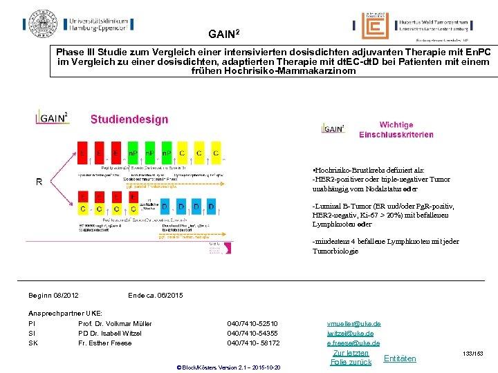 GAIN 2 Phase III Studie zum Vergleich einer intensivierten dosisdichten adjuvanten Therapie mit En.