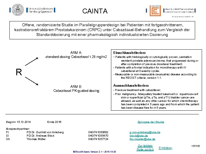 CAINTA Offene, randomisierte Studie im Parallelgruppendesign bei Patienten mit fortgeschrittenem, kastrationsrefraktärem Prostatakarzinom (CRPC) unter