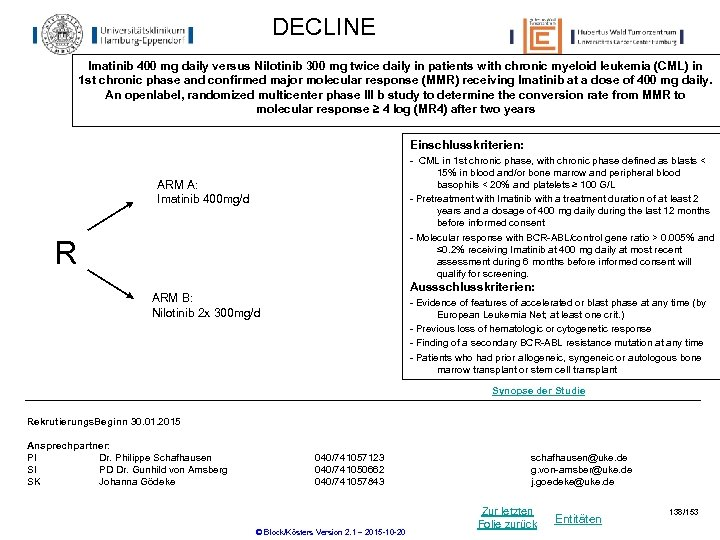 DECLINE Imatinib 400 mg daily versus Nilotinib 300 mg twice daily in patients with