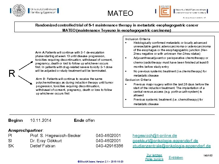 MATEO Randomized controlled trial of S-1 maintenance therapy in metastatic esophagogastric cancer MATEO (maintenance