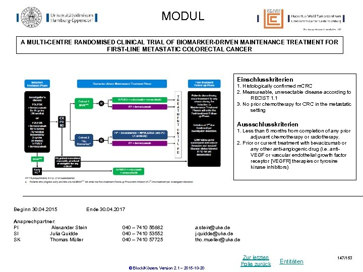 MODUL A MULTI-CENTRE RANDOMISED CLINICAL TRIAL OF BIOMARKER-DRIVEN MAINTENANCE TREATMENT FOR FIRST-LINE METASTATIC COLORECTAL