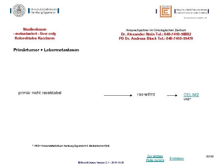 Studienbaum - metastasiert - liver only Kolorektales Karzinom Ansprechpartner im Onkologischen Zentrum Dr. Alexander