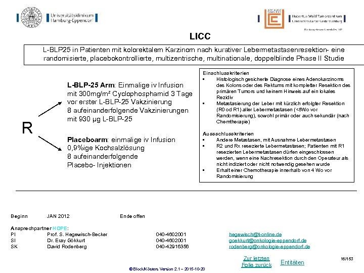 LICC L-BLP 25 in Patienten mit kolorektalem Karzinom nach kurativer Lebermetastasenresektion- eine randomisierte, placebokontrollierte,