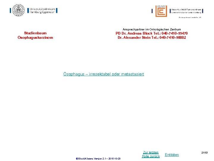 Ansprechpartner im Onkologischen Zentrum Studienbaum Ösophaguskarzinom PD Dr. Andreas Block Tel. : 040 -7410