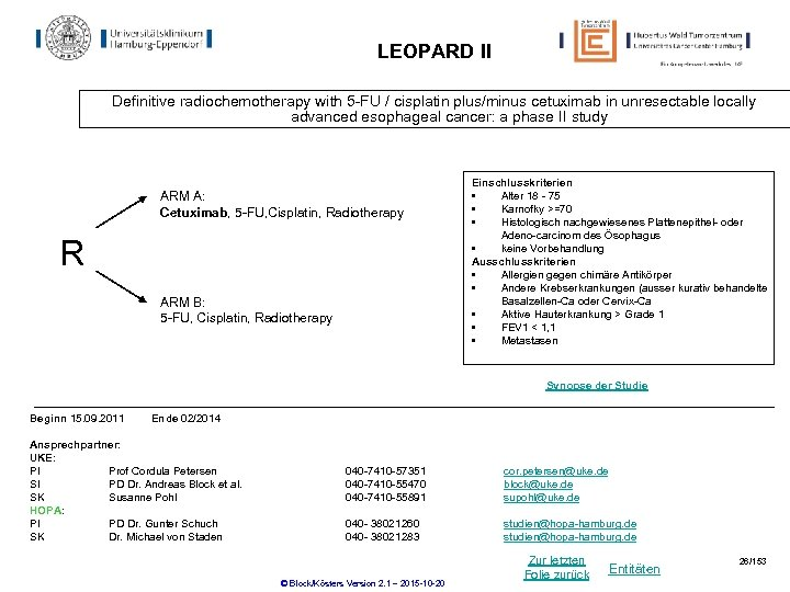 LEOPARD II Definitive radiochemotherapy with 5 -FU / cisplatin plus/minus cetuximab in unresectable locally