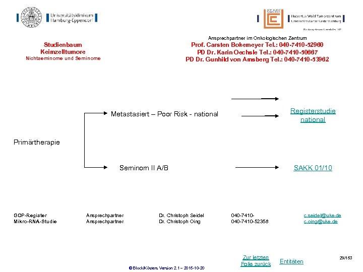 Ansprechpartner im Onkologischen Zentrum Studienbaum Keimzelltumore Prof. Carsten Bokemeyer Tel. : 040 -7410 -52960