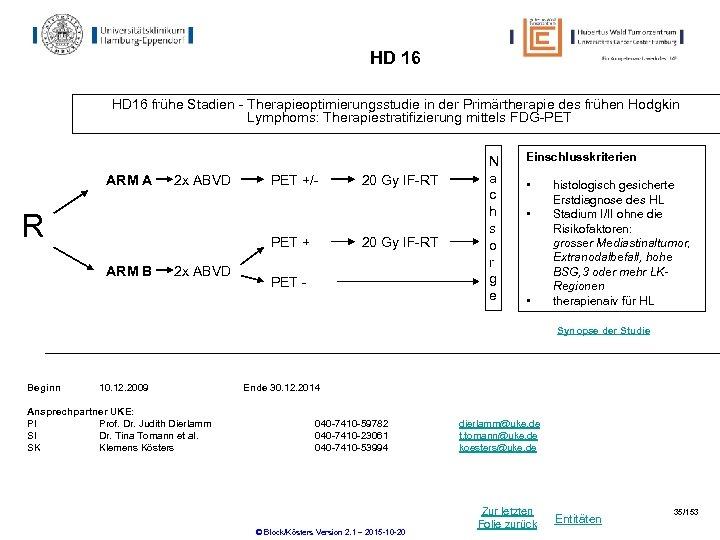 HD 16 frühe Stadien - Therapieoptimierungsstudie in der Primärtherapie des frühen Hodgkin Lymphoms: Therapiestratifizierung