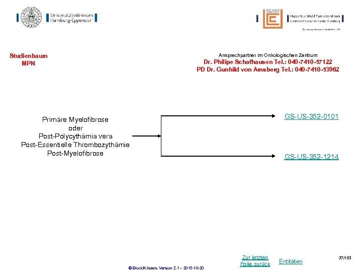 Ansprechpartner im Onkologischen Zentrum Studienbaum MPN Dr. Philipe Schafhausen Tel. : 040 -7410 -57122