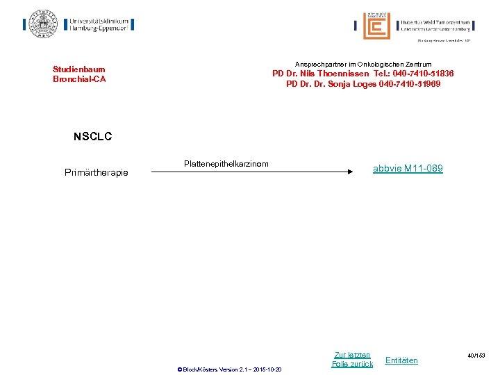 Ansprechpartner im Onkologischen Zentrum Studienbaum Bronchial-CA PD Dr. Nils Thoennissen Tel. : 040 -7410