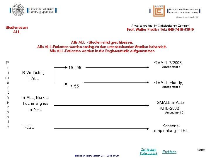 Ansprechpartner im Onkologischen Zentrum Studienbaum ALL Prof. Walter Fiedler Tel. : 040 -7410 -53919