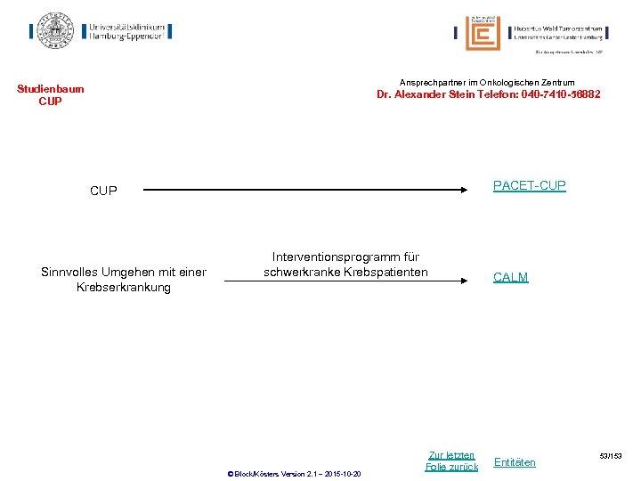 Ansprechpartner im Onkologischen Zentrum Studienbaum CUP Dr. Alexander Stein Telefon: 040 -7410 -56882 PACET-CUP