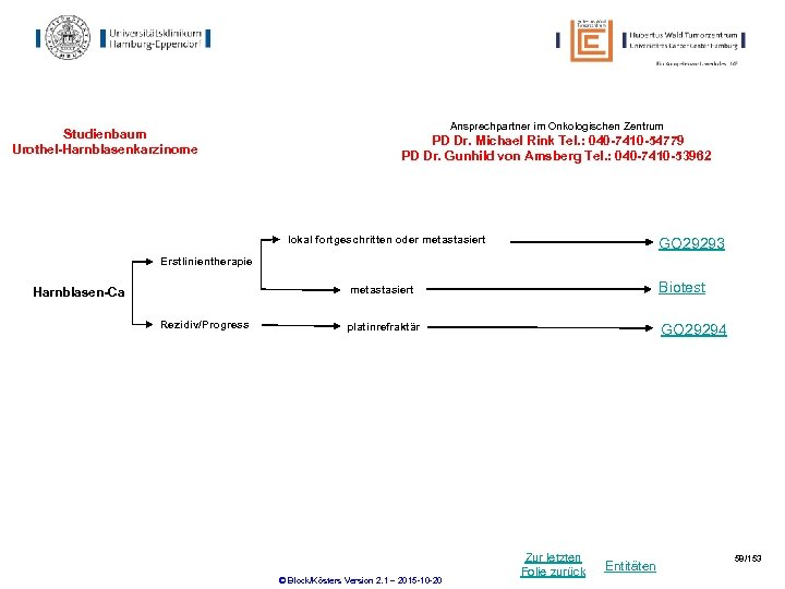 Studienbaum Urothel-Harnblasenkarzinome Ansprechpartner im Onkologischen Zentrum PD Dr. Michael Rink Tel. : 040 -7410