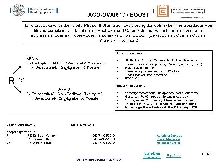 AGO-OVAR 17 / BOOST Eine prospektive randomisierte Phase III Studie zur Evaluierung der optimalen