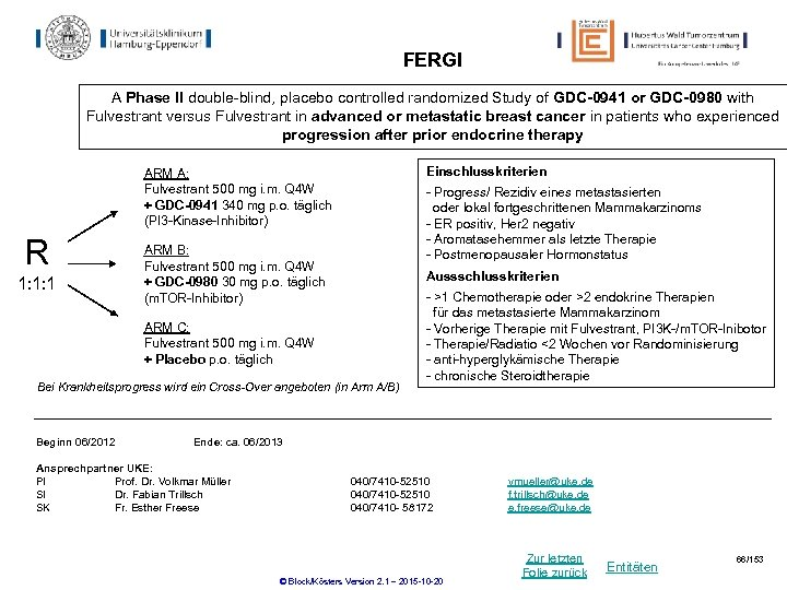 FERGI A Phase II double-blind, placebo controlled randomized Study of GDC-0941 or GDC-0980 with