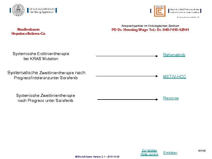 Ansprechpartner im Onkologischen Zentrum Studienbaum Hepatocelluläres-Ca PD Dr. Henning Wege Tel. : Dr. 040