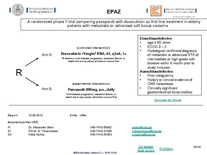 EPAZ A randomized phase II trial comparing pazopanib with doxorubicin as first line treatment