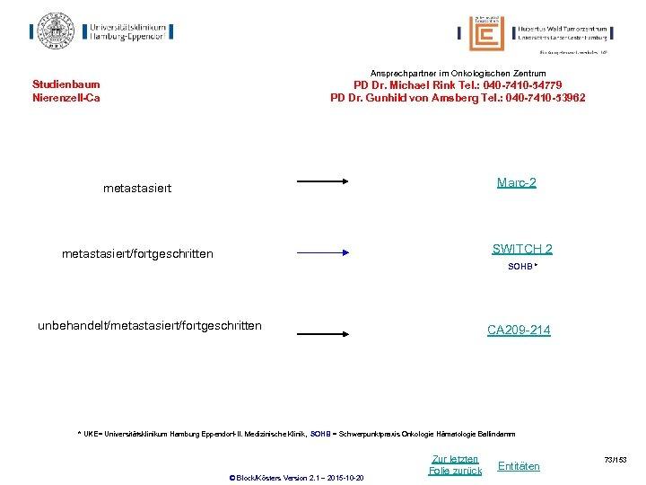 Ansprechpartner im Onkologischen Zentrum Studienbaum Nierenzell-Ca PD Dr. Michael Rink Tel. : 040 -7410