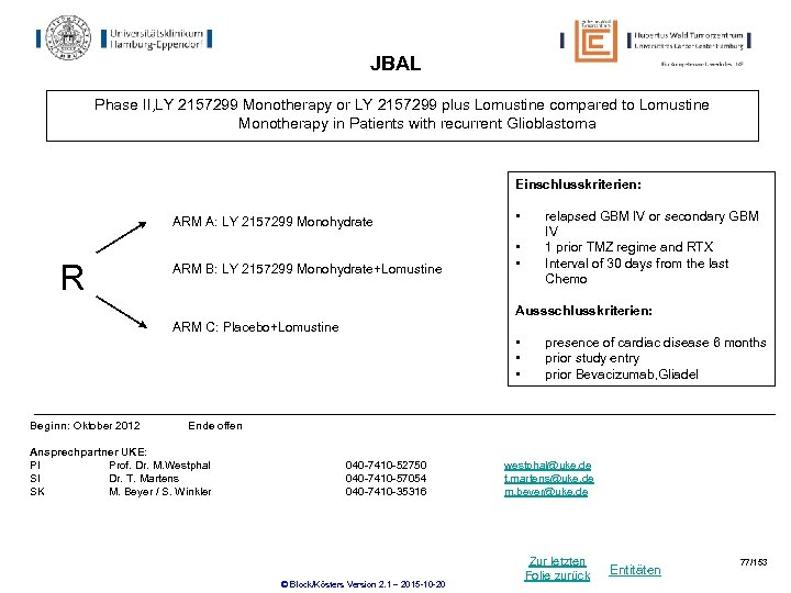 JBAL Phase II, LY 2157299 Monotherapy or LY 2157299 plus Lomustine compared to Lomustine