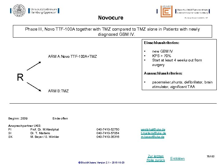 Novocure Phase III, Novo TTF-100 A together with TMZ compared to TMZ alone in