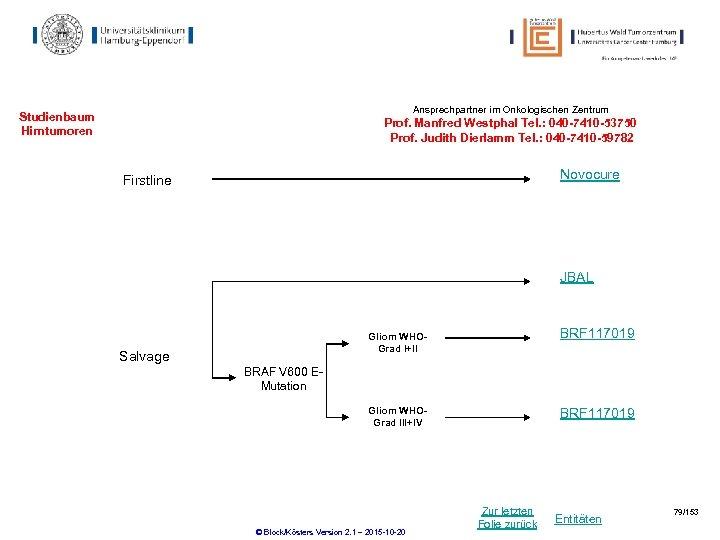 Ansprechpartner im Onkologischen Zentrum Studienbaum Hirntumoren Prof. Manfred Westphal Tel. : 040 -7410 -53750