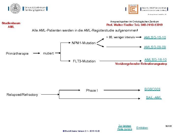 Ansprechpartner im Onkologischen Zentrum Studienbaum AML Prof. Walter Fiedler Tel. : 040 -7410 -53919