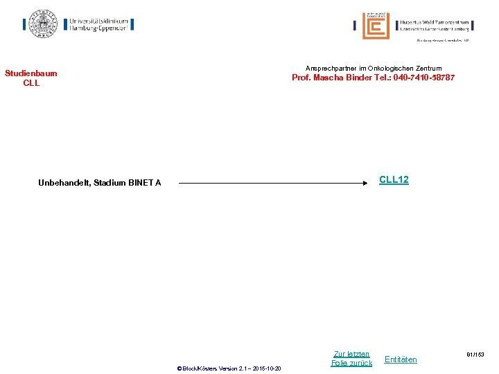 Ansprechpartner im Onkologischen Zentrum Studienbaum CLL Prof. Mascha Binder Tel. : 040 -7410 -58787