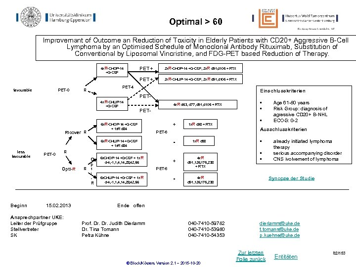 Optimal > 60 Improvemant of Outcome an Reduction of Toxicity in Elderly Patients with