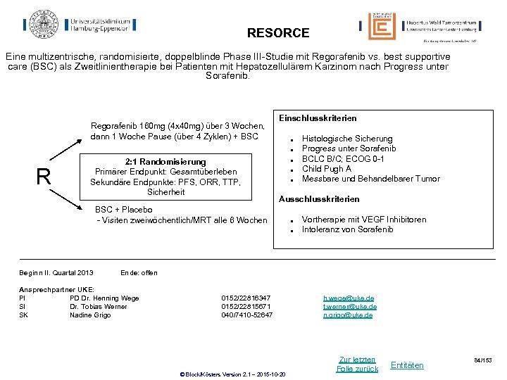 RESORCE Eine multizentrische, randomisierte, doppelblinde Phase III-Studie mit Regorafenib vs. best supportive care (BSC)