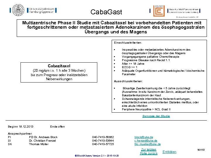 Caba. Gast Multizentrische Phase II Studie mit Cabazitaxel bei vorbehandelten Patienten mit fortgeschrittenem oder