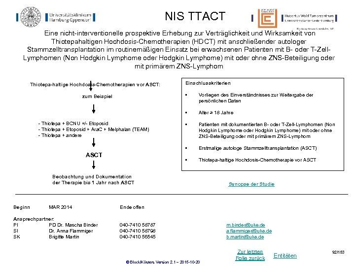NIS TTACT Eine nicht-interventionelle prospektive Erhebung zur Verträglichkeit und Wirksamkeit von Thiotepahaltigen Hochdosis-Chemotherapien (HDCT)