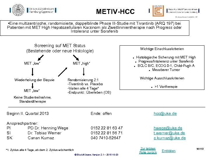 METIV-HCC • Eine multizentrische, randomisierte, doppelblinde Phase III-Studie mit Tivantinib (ARQ 197) bei Patienten