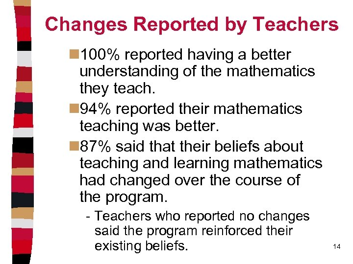 Changes Reported by Teachers n 100% reported having a better understanding of the mathematics