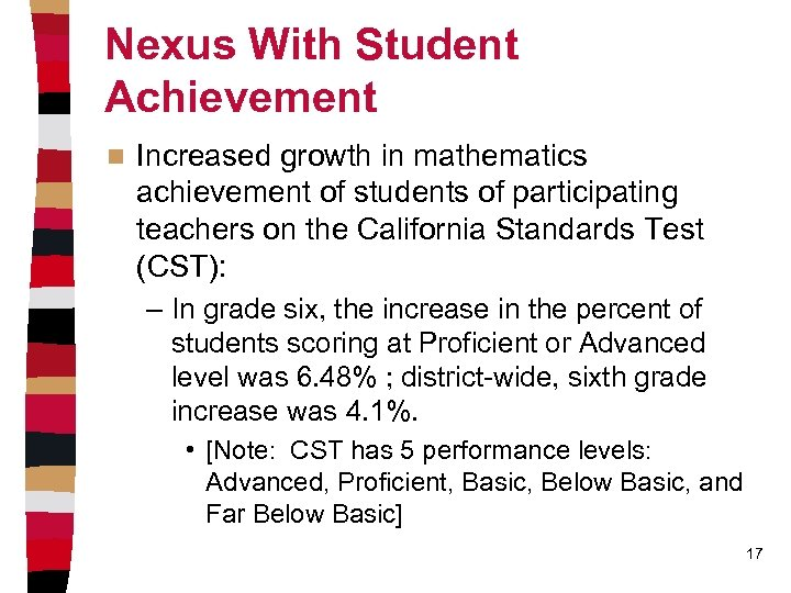 Nexus With Student Achievement n Increased growth in mathematics achievement of students of participating