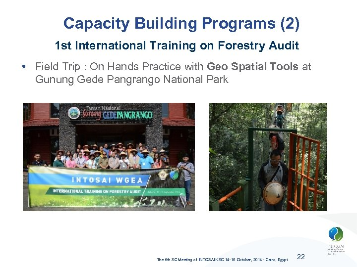 Capacity Building Programs (2) 1 st International Training on Forestry Audit • Field Trip
