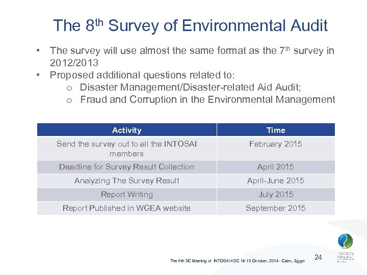 The 8 th Survey of Environmental Audit • The survey will use almost the