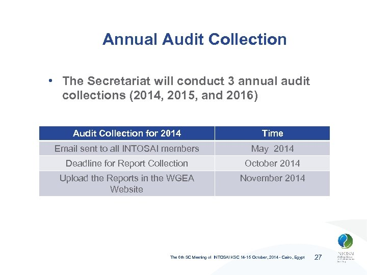 Annual Audit Collection • The Secretariat will conduct 3 annual audit collections (2014, 2015,