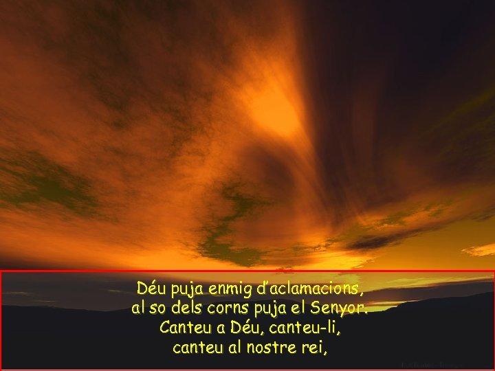 Déu puja enmig d'aclamacions, al so dels corns puja el Senyor. Canteu a Déu,